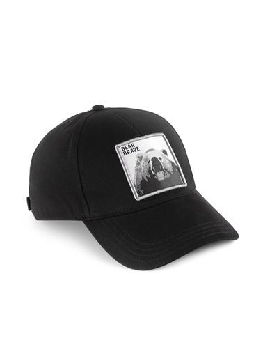 Mavi Erkek  Geyik Baskılı  Şapka 091891-900 Siyah
